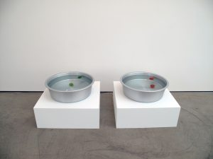 Shimabuku </br> <I>Something that Floats / Something that Sinks</I>, 2010 </br> two aluminum tubs, water, two tomatoes, two limes, two pedestals, two water streamers </br> pedestals: 30 x 80 x 80 cm / tubs 19 x 60 cm </br> pedestals: 11.8 x 31.5 x 31.5 inches / tubs 7.5 x 23.6 inches
