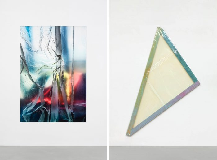 left: Elisa Sighicelli, <I>Untitled (3333)</I>, 2020 </br> right: Carla Accardi, <I>dimenticare mettersi in salvo n.2</i>, 1978