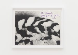<I>all things are full of gods - shell writing #2</I>, 1976 </br> screenprint</br> 49.3 x 63.4 x 4 cm / 19.4 x 25 x 1.5 in (framed)