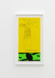 <I>green fingers</I>, 1969 </br> screenprint</br> 66,5 x 38 x 4 cm / 26.1 x 15 x 1.5 in (framed)
