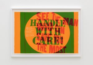<I>handle with care</I>, 1967 </br> screenprint</br> 66 x 96,5 x 4 cm / 26 x 38 x 1.6 in (framed)