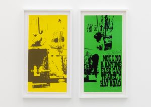 <I>road signs (part 1 and 2)</I>, 1969 </br> screenprint</br> each: 66 x 37 x 4 cm / 26 x 14.5 x 1.5 in (framed)