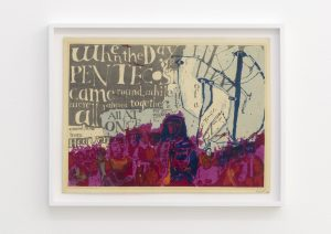 <I>word picture: gift of tongues</I>, 1955 </br> screenprint</br> 50,5 x 65,5 x 4 cm / 19.9 x 25.8 x 1.6 in (framed)