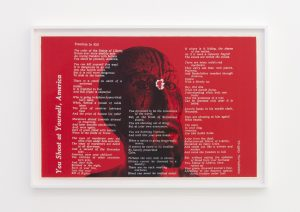 <I>you shoot at yourself, america</I>, 1968 </br> screenprint</br> 66 x 96,5 x 4 cm / 26 x 38 x 1.5 in (framed)