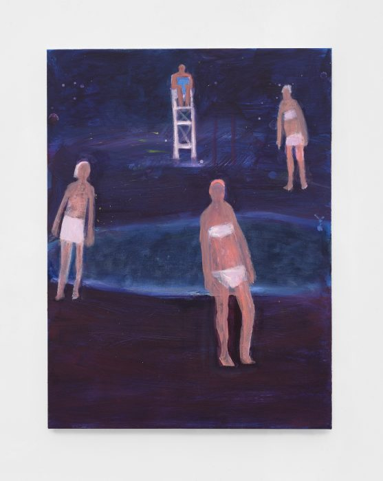 <I>Swimmers and Their Lifeguard</I>, 2021 </br> acrylic on canvas</br> 101,6 x 76,2 cm / 40 x 30 in