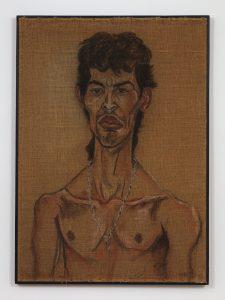 <I>El Tomate</I>, 1994 </br> charcoal on burlap</br> 106 x 76,2 cm / 41.7 x 30 in