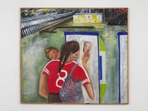 <I>Encuentro místico constitución (Mystical encounter at Constitutión Train Station)</I>, 1998 </br> oil on canvas and collage</br> 132,1 x 117,5 x 2,5 cm / 52 x 46.2 x 1 in