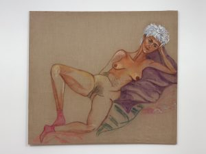 <I>Desnuda y con zoquetes (Nude with socks)</I>, 2012 </br> oil pastel on linen</br> 180 x 160 cm / 70.8 x 62.9 in