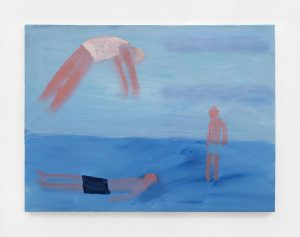 <I>Three Swimmers Light Blue</I>, 2021 </br> acrylic on canvas</br> 76,2 x 101,6 cm / 30 x 40 in
