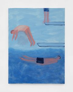 <I>High and Low Diving Boards</I>, 2021 </br> acrylic on canvas</br> 101,6 x 76,2 cm / 40 x 30 in