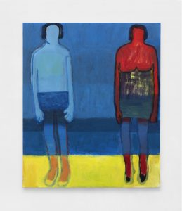 <I>Swimmers on Yellow Sand</I>, 2021 </br> acrylic on canvas</br> 182,8 x 152,4 cm / 72 x 60 in