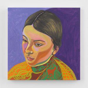 Aliza Nisenbaum, <I>Lizette's Costume</I>, 2021 </br> oil on panel</br> 40,6 x 40,6 cm / 16 x 16 in