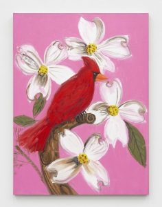 Ann Craven, <I>Little Cardinal (Pink Day with Dogwood, Again)</I>, 2021 </br> oil on linen</br> 101,6 x 76,2 cm / 40 x 30 in