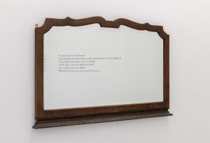 Aria Dean, <I>Cipher (6)</I>, 2021 </br> vynil on wall, mirror</br> Dimensions variable