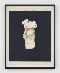 Mamma Andersson, <I>Dress</I>, 2015 </br> handprinted colour woodcut on rice paper, monotype</br> 71,9 x 57 x 3,8 cm / 28.3 x 22.4 x 1.5 in