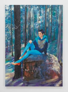 Paulina Olowska, <I>Blue Forest</I>, 2019 </br> oil on canvas with collage elements</br> 200 x 130 cm / 78.7 x 51.1 in